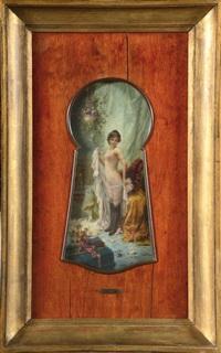 femme nue en déshabillé, vue par le trou de la serrure by hans zatzka