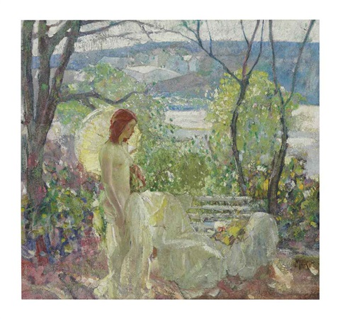 girl with parasol by richard edward miller