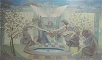dansende meisjes bij de fontein by guillaume liat