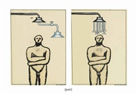 two drawings from the man under the shower series by ilya kabakov