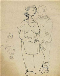 couple and self-portrait in uniform (study) by ludwig meidner and jankel adler