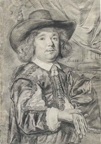 portrait of a gentleman aged 39, half-length, wearing a wide-brimmed hat, holding his gloves in his right hand by cornelis visscher