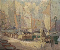 boats in the harbour of marseille by adrien jean le mayeur de merprés