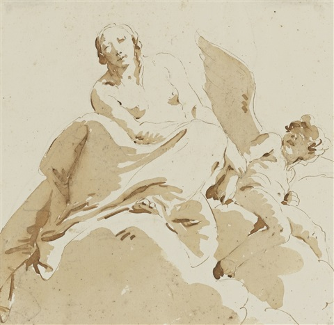 psyche holding the arm of a blind cupid by giovanni battista tiepolo