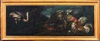 natura morta con due galli che combattono, pesci ed airone in un paesaggio; natura morta con tacchino, gallo, coniglio, pappagallo, airone in un paesaggio (pair) by giovanni agostino (abate) cassana