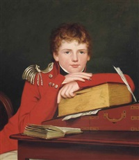portrait of a boy, half-length, in uniform, leaning on a book on a writing desk by robert home