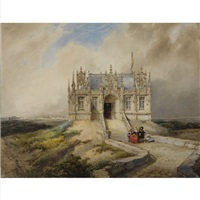 a couple in 17th century dress in front of a gothic building by hubertus van hove