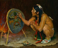decorating the war shield by eanger irving couse