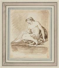 figura in cinque punti di giovane uomo apollineo seduto by carlo labruzzi