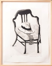 hat on chair by david hockney