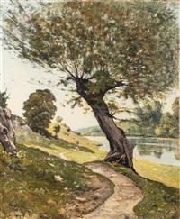 a winding river path, 1898 by henri joseph harpignies
