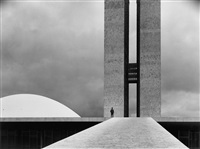 the national congress building by oscar niemeyer, brasilia, brazil by elliott erwitt