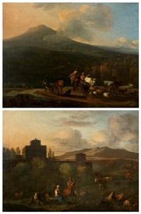 bergers et troupeau près d'une rivière le repos des bergers près de la citadelle (2 works) by nicolaes berchem
