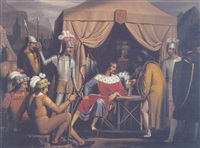 scene from the fielcamp of rudolf von habsburg by josef arnold the elder