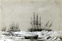 the franklin search expedition wintering in the arctic, 1850 (2 works) by george francis mcdougall
