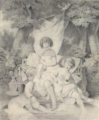 drei frauen in einer parklandschaft an einem brunnen by pierre alexandre wille