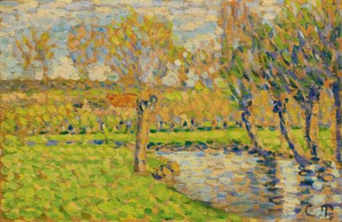 bords de lepte à éragny by camille pissarro