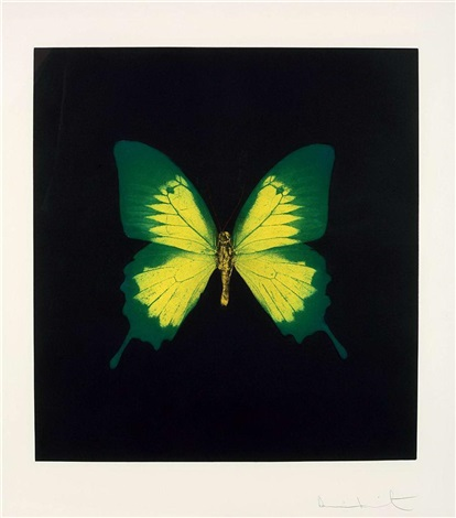 green yellow butterfly from memento by damien hirst