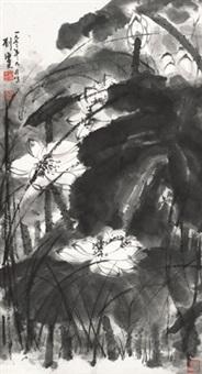 荷花 立轴 水墨纸本 by liu haisu