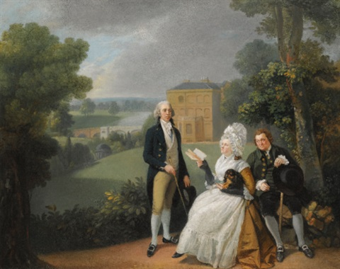 portrait of the sayer family with a view of bridge house richmond and the shakespeare temple beyond by johann joseph zoffany