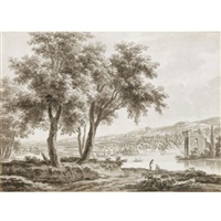 view across a landscaped park, with a country house to the left and figures by a lake to the right by jacques rigaud