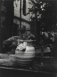 window still life with striped vase by josef sudek