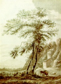 italianate landscape with a peasant and his animals resting under a tree by jordanus hoorn