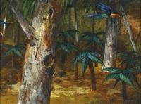 parrots in flight by albert lee tucker