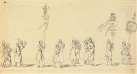 festzug berliner künstler (4 works) by ludwig elsholtz