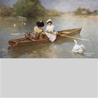 rowing on the seine by ferdinand heilbuth