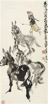 赶驴图 立轴 纸本 by huang zhou