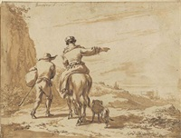 herdsmen in an italianate landscape with a tower by nicolaes berchem