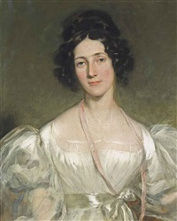 portrait of a lady, half-length, in a white silk dress with a sash by thomas lawrence