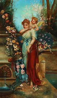 venus and amor standing near a fountain surrounded by flowers by hans zatzka