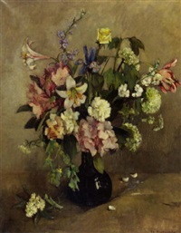 a summer bouquet with lilies, rhodondendrons and hydrangea in a glass vase by elise claudine arntzenius