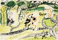 trois faunes dansant dans un paysage by edouard pignon and pablo picasso