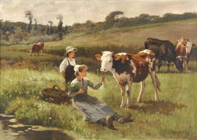 Paisaje con vacas y jovenes campesinos von edouard bernard - Cuadros de vacas ...