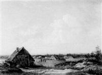 figures by a farm in an extensive landscape by dirk alewyn