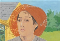 orange hat i by alex katz