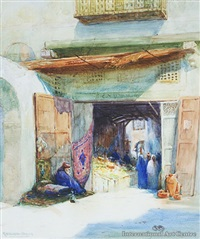 entrance to arab bazaar, cairo by robert herdman-smith