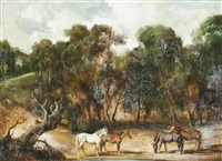 horses grazing in a forest clearing by raoul millais