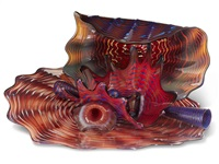 celadon, indian red and lapis persian set by dale chihuly