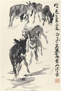 群驴 立轴 纸本 by huang zhou