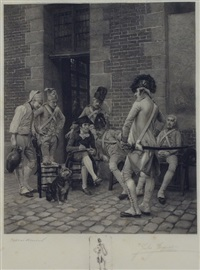 french soldiers in a street setting by jules-leon-edouard jacquet