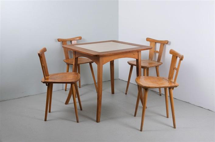 st hle und tisch set of 5 von hans d llgast auf artnet. Black Bedroom Furniture Sets. Home Design Ideas