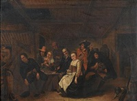 a tavern interior with peasants carousing by gerrit lundens