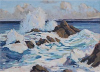 breaking waves on a rocky coast by eric ward