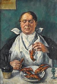 gentleman feasting on shellfish; dog study (recto-verso) by romain kramstyk