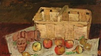 still life of basket of apples by leon karp