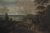 an extensive wooded landscape with peasants on a track, cottages beyond by lucas van uden